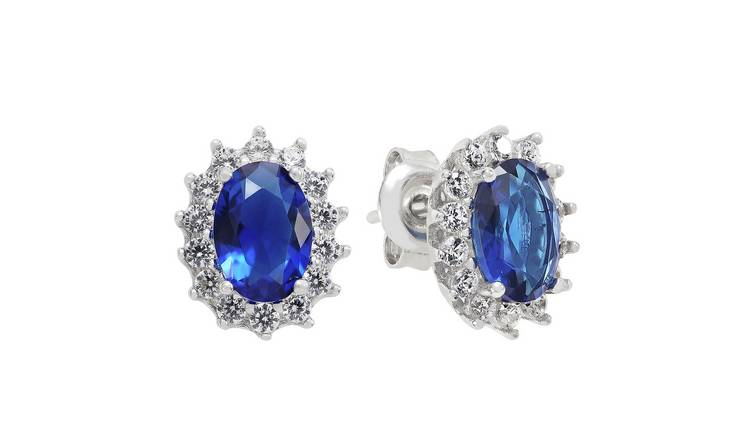 Revere Sterling Silver Cubic Zirconia Halo Stud Earrings