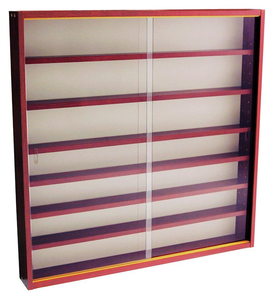 mahogany effect 6 shelf glass wall display cabinet. Black Bedroom Furniture Sets. Home Design Ideas
