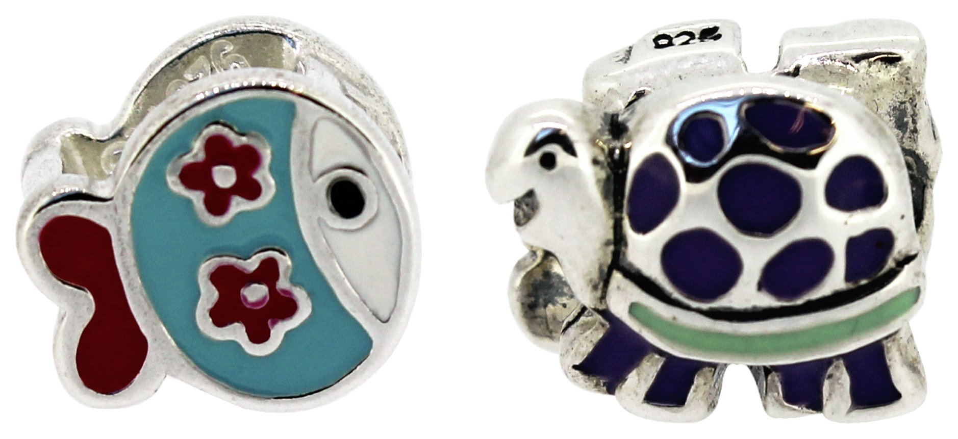 Miss Glitter S.Silver Kids Enamel Fish and Turtle Charms.