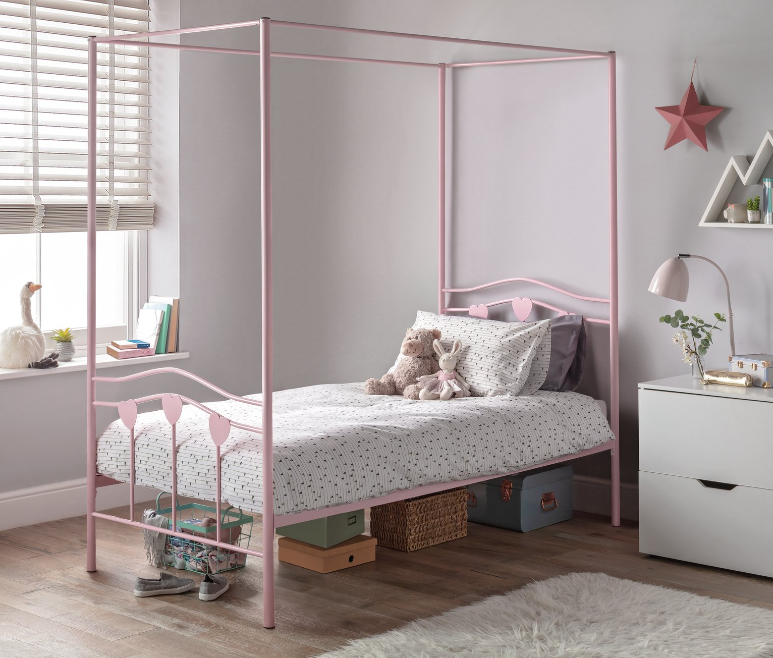 Argos Home Hearts Single 4 Poster Bed and Kids Mattress - Pi