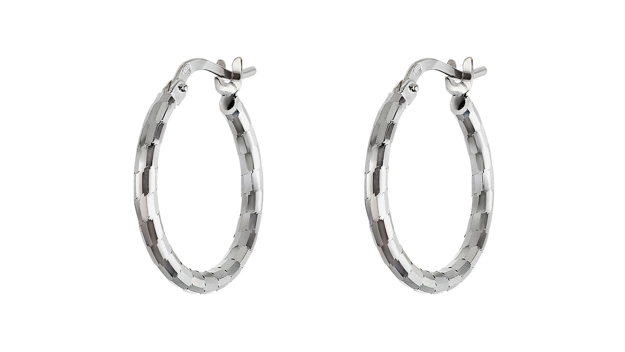 Revere Italian Sterling Silver Diamond Cut Hoop Earrings