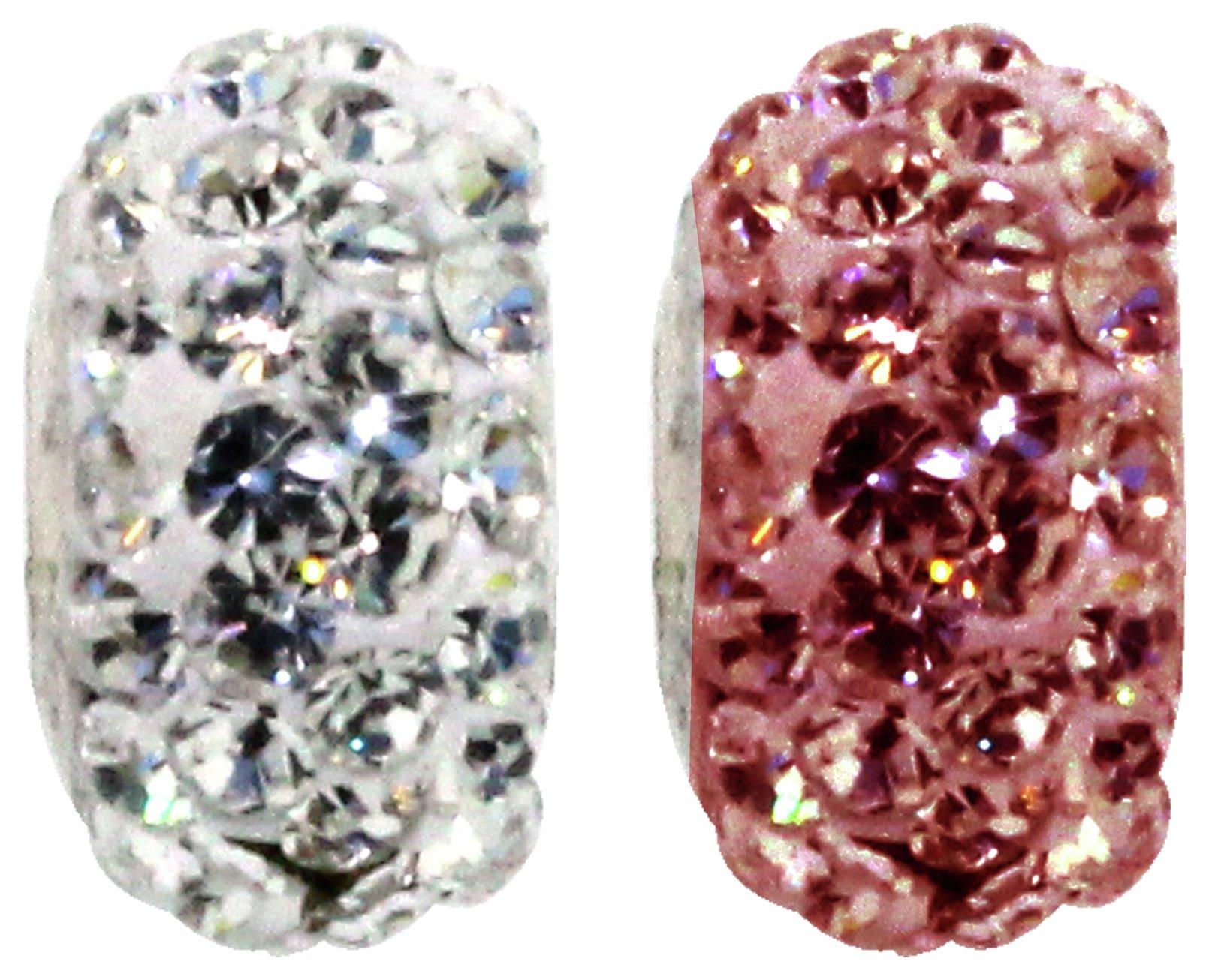 Miss Glitter S.Silver Kids Stone Set Pink/White Washer Beads