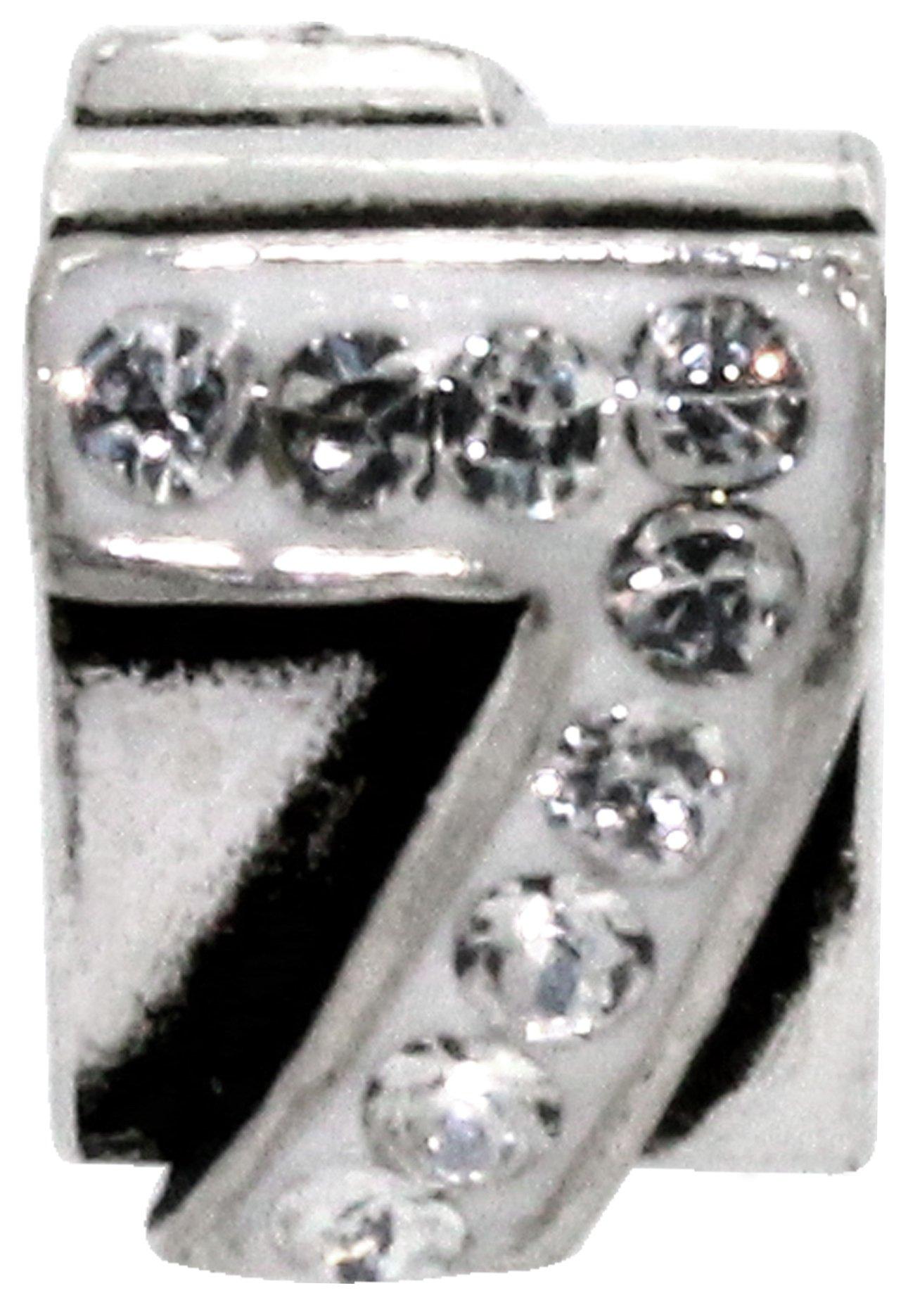 Miss Glitter S.Silver Kids Stone Set Number Charm - 7.