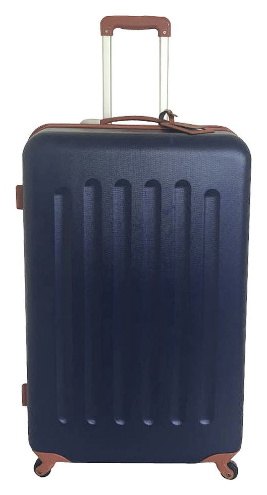Image of Go Explore - 4 Wheel Hard Large Suitcase- Navy and Tan