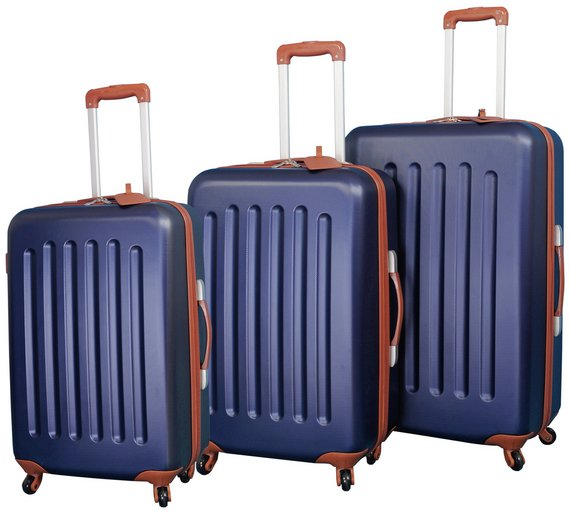 Buy Go Explore 4 Wheel Hard Large Suitcase- Navy and Tan at Argos ...