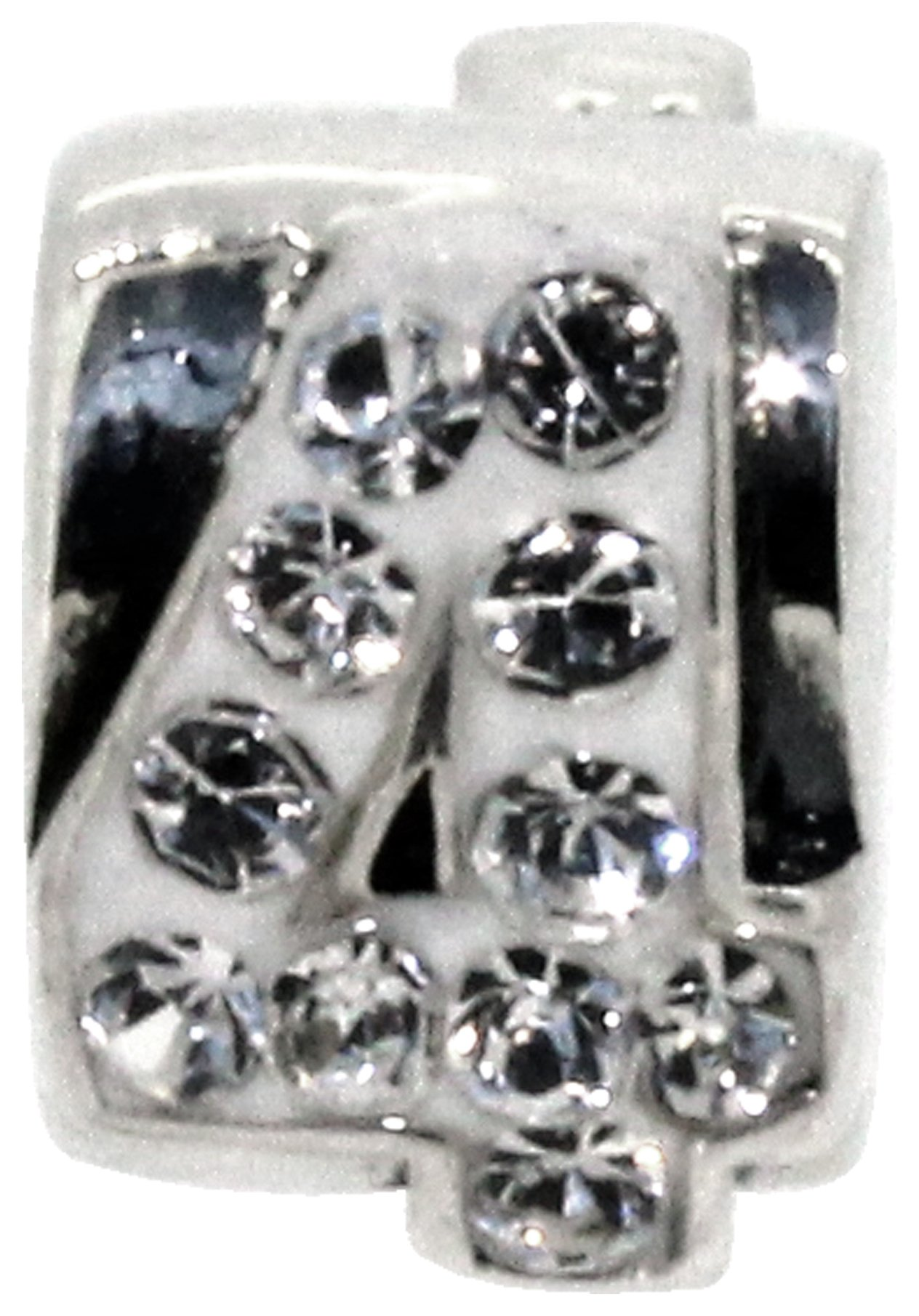 Miss Glitter Sterling Silver Kids Stone Set Number Charm - 4