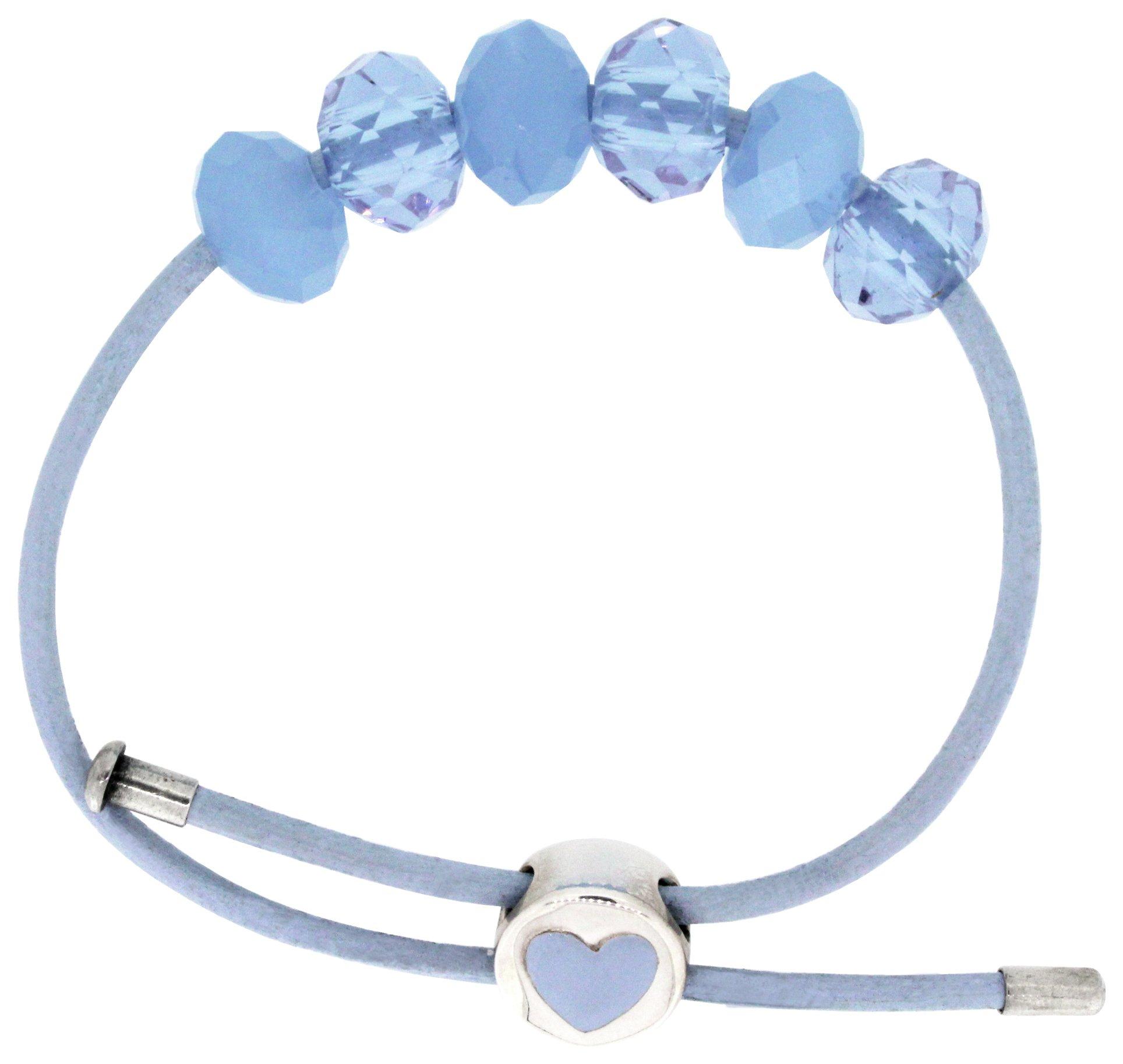 Miss Glitter S.Silver Kids Blue Made Up Bracelet/Heart Clasp