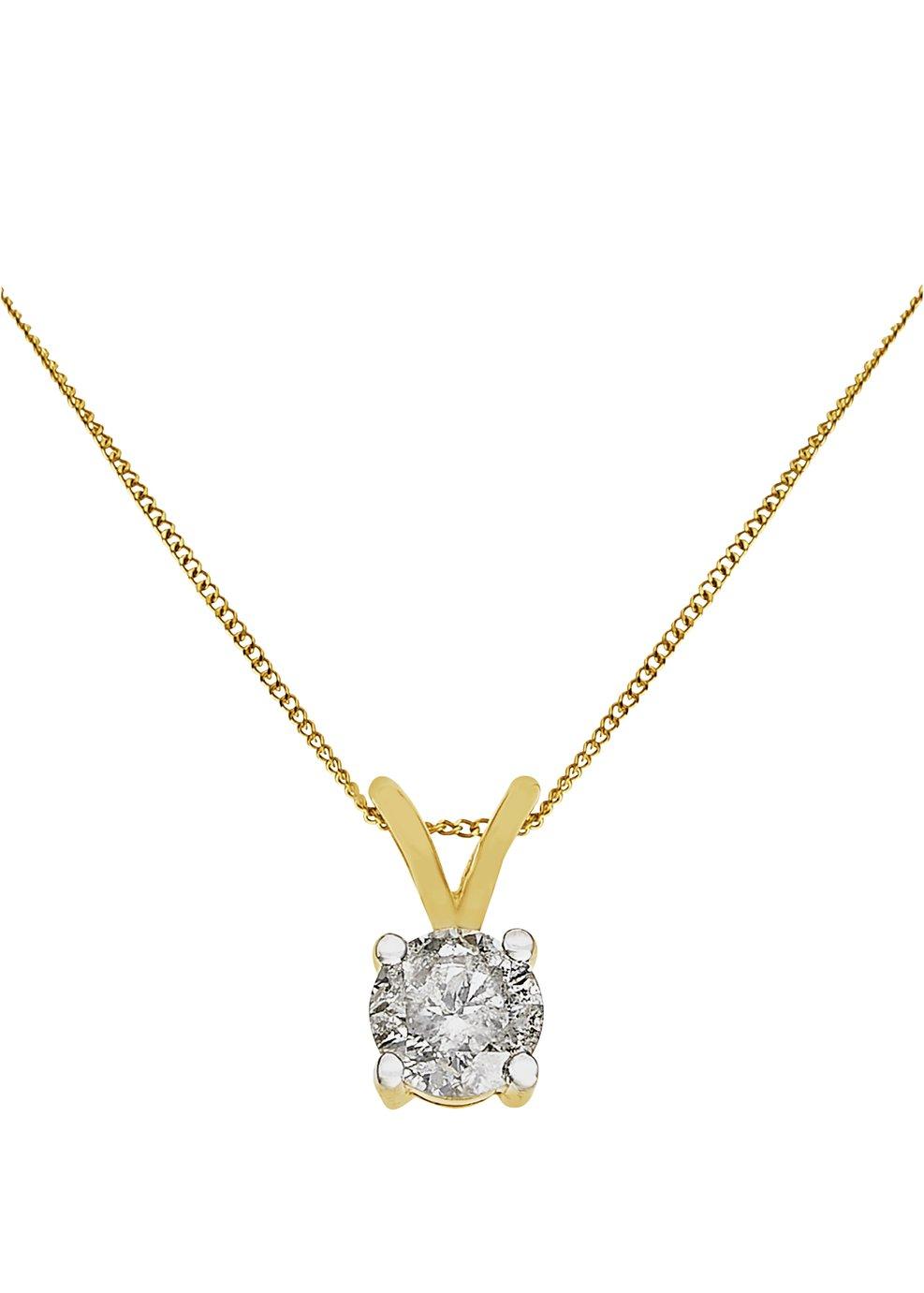 Image of 9 Carat Gold - 0.50 Carat Diamond Solitaire Pendant.