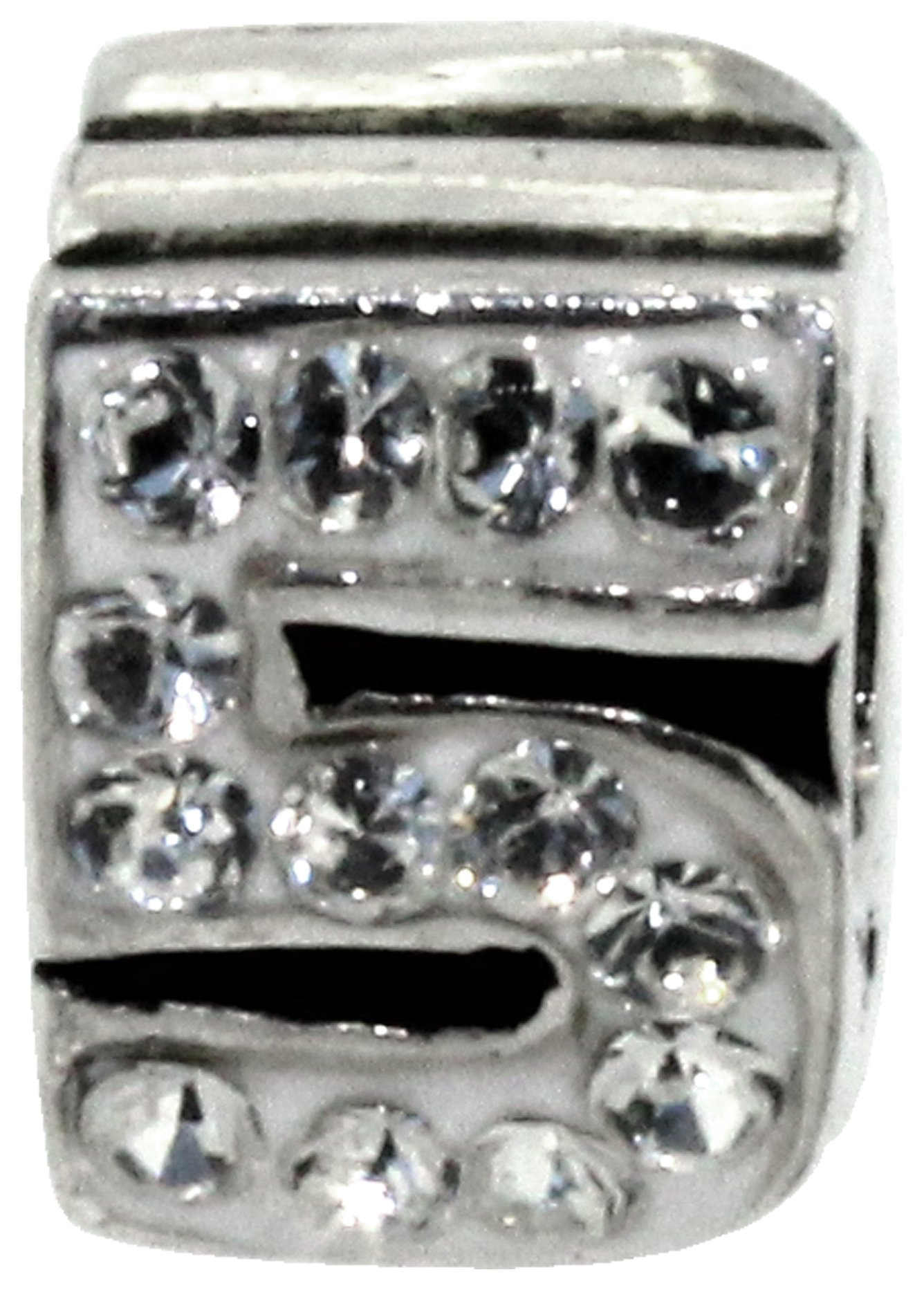 Miss Glitter Sterling Silver Kids Stone Set Number Charm - 5