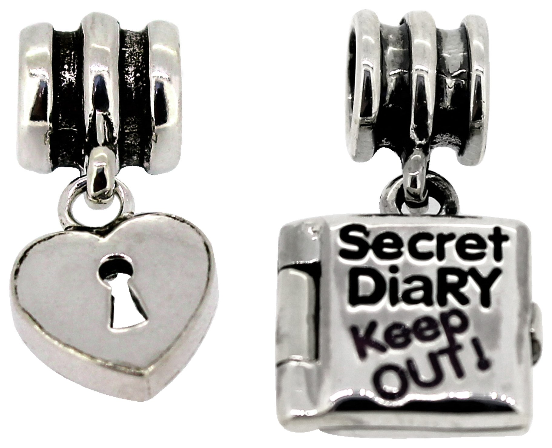 Miss Glitter Sterling Silver Kids Lock and Diary Charms.