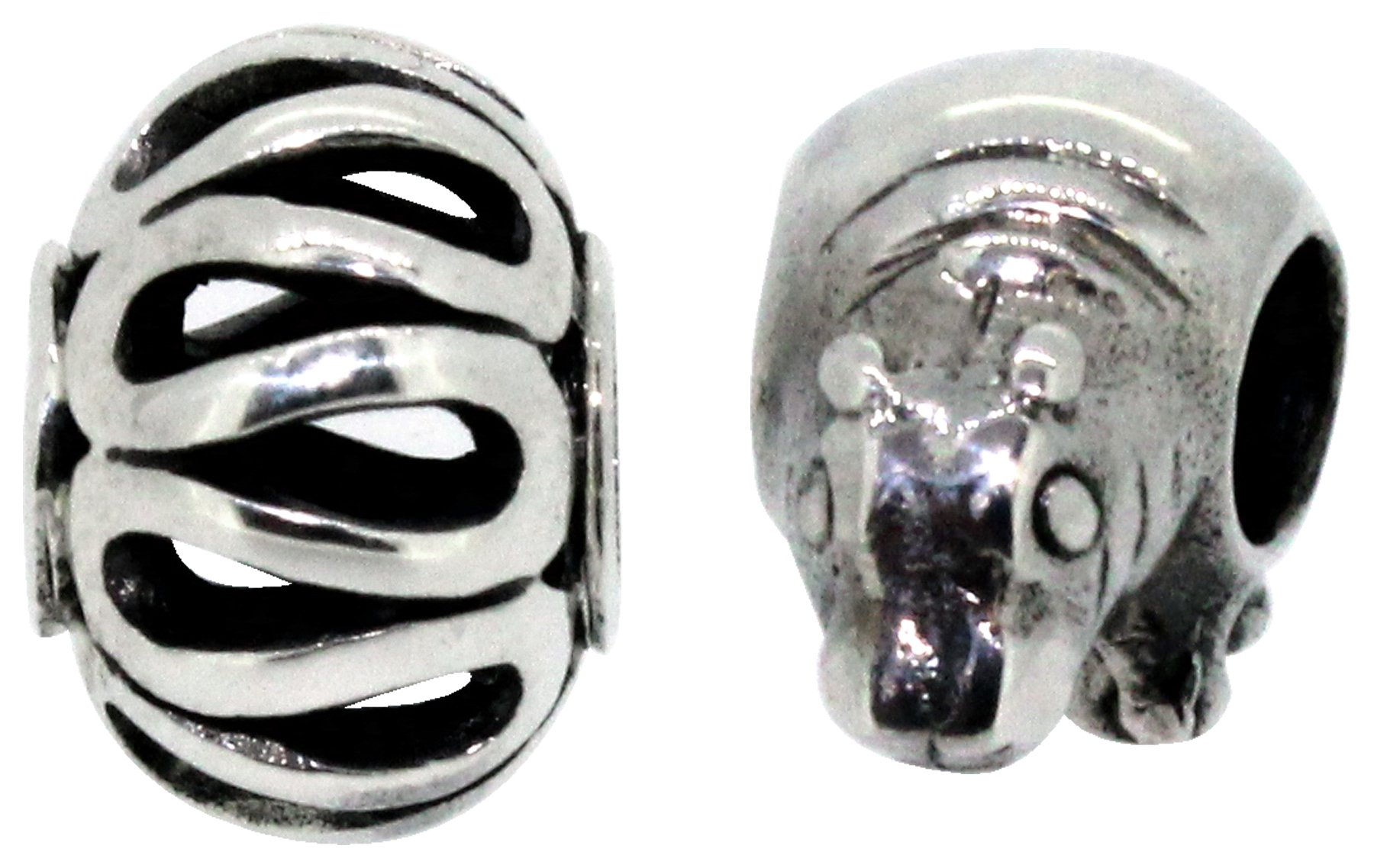 Miss Glitter S.Silver Kids Hippo and Pattern Washer Charms.