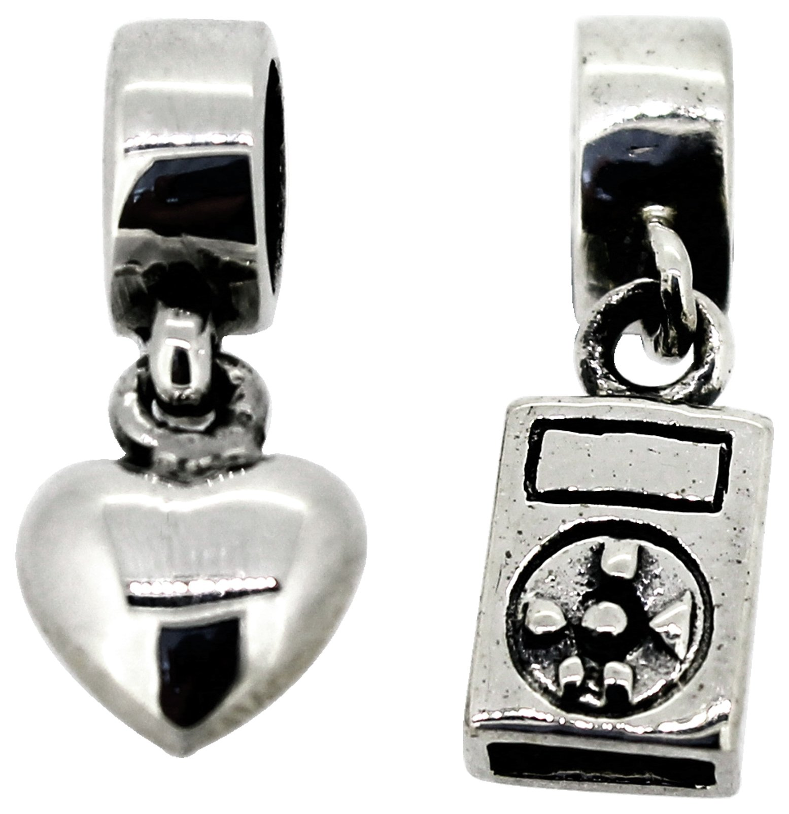 Miss Glitter Sterling Silver Heart and iPod Drop Charms
