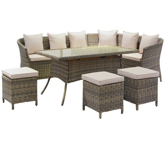 rattan effect 8 seater corner sofa dining table and stools4576200