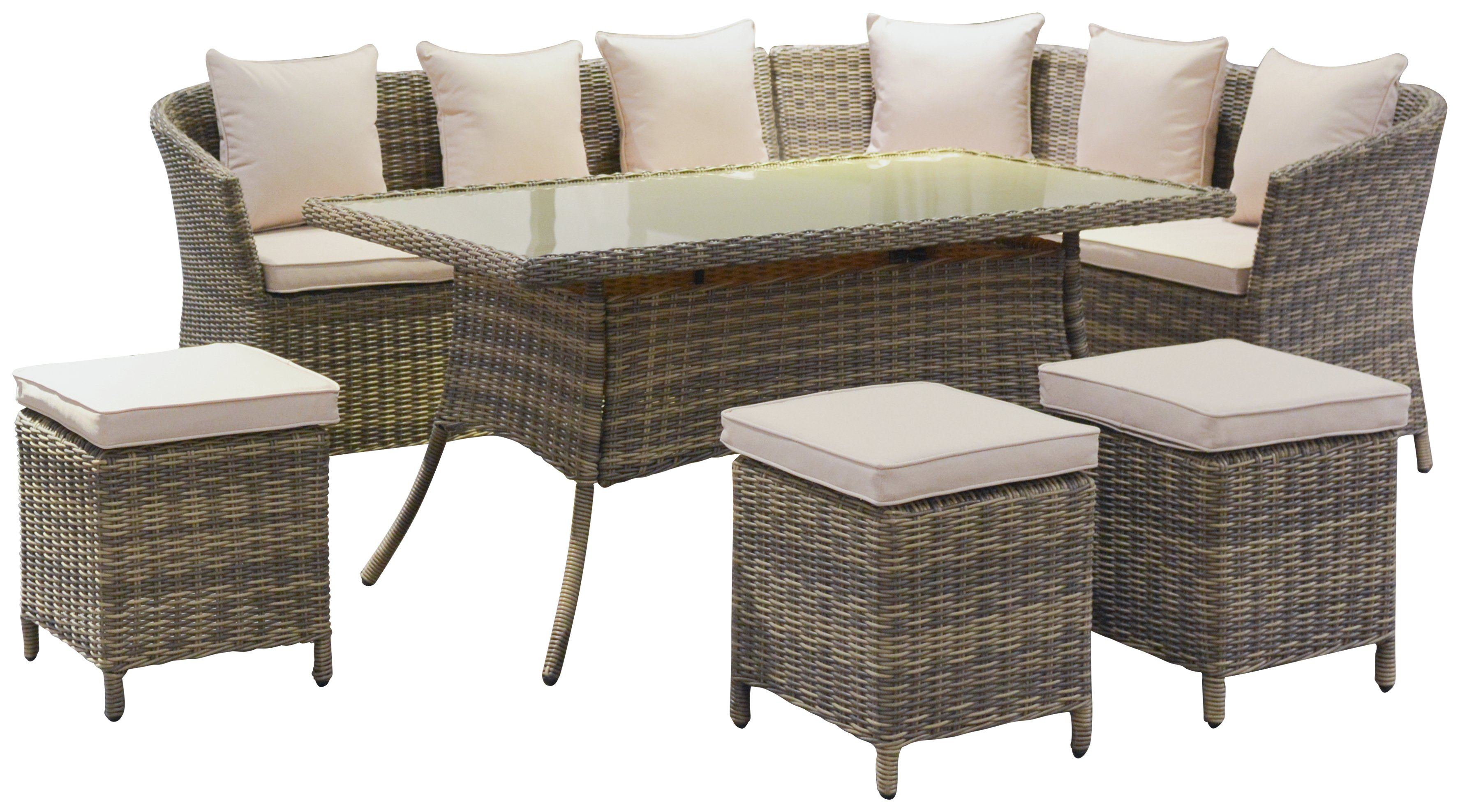 Garden Furniture 8 Seats buy rattan effect 8 seater corner sofa, dining table and stools at
