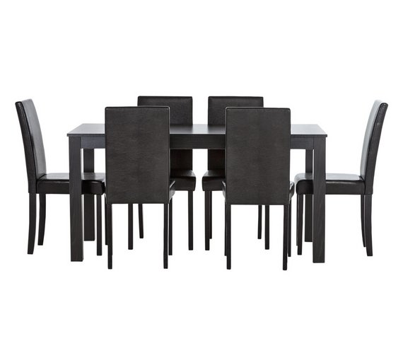 HOME New Elmdon Wood Effect Dining Table 6 Chairs
