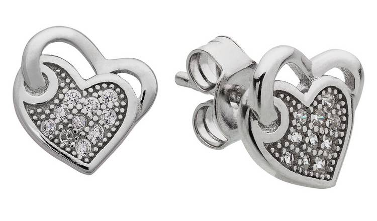Revere Sterling Silver CZ Double Heart Stud Earrings