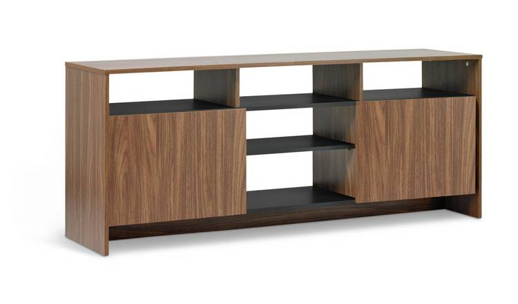 Argos Home Turin 2 Door TV Unit - Black & Walnut Effect