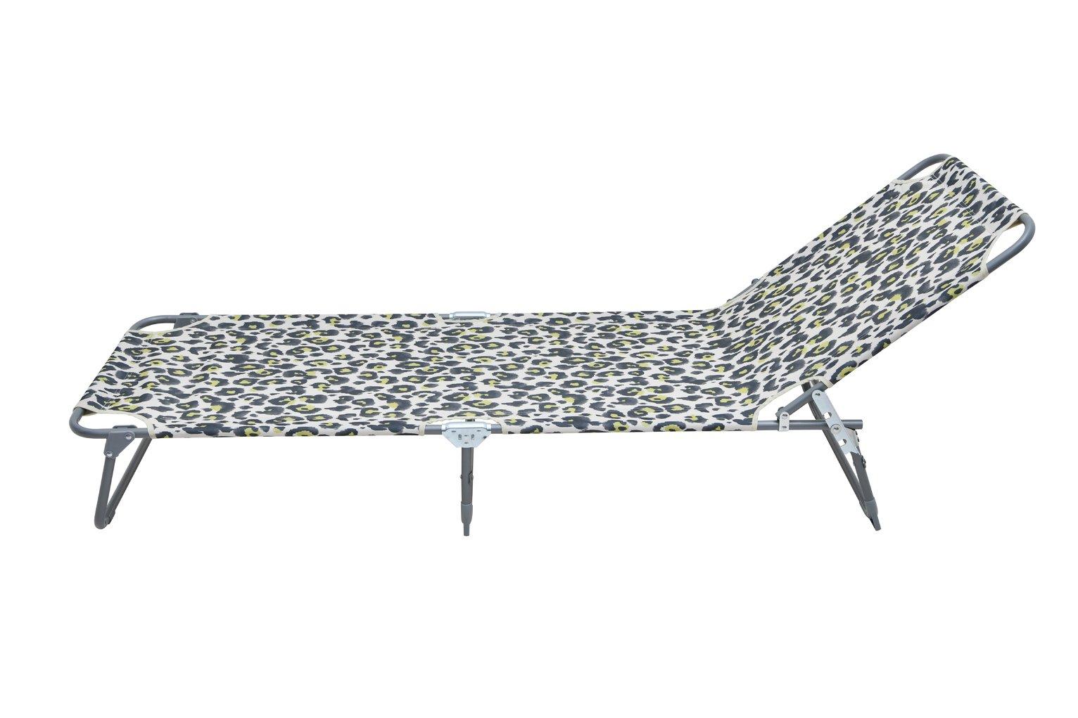 Argos Home Metal Foldable Sun Lounger - Leopard Print