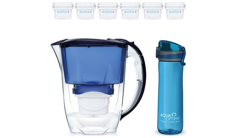 Aqua Optima Oria Water Filter Jug & Bottle with 6 Cartridges