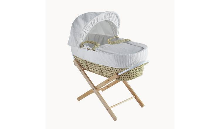 Waffle Palm Moses Basket with Folding Stand - Natural