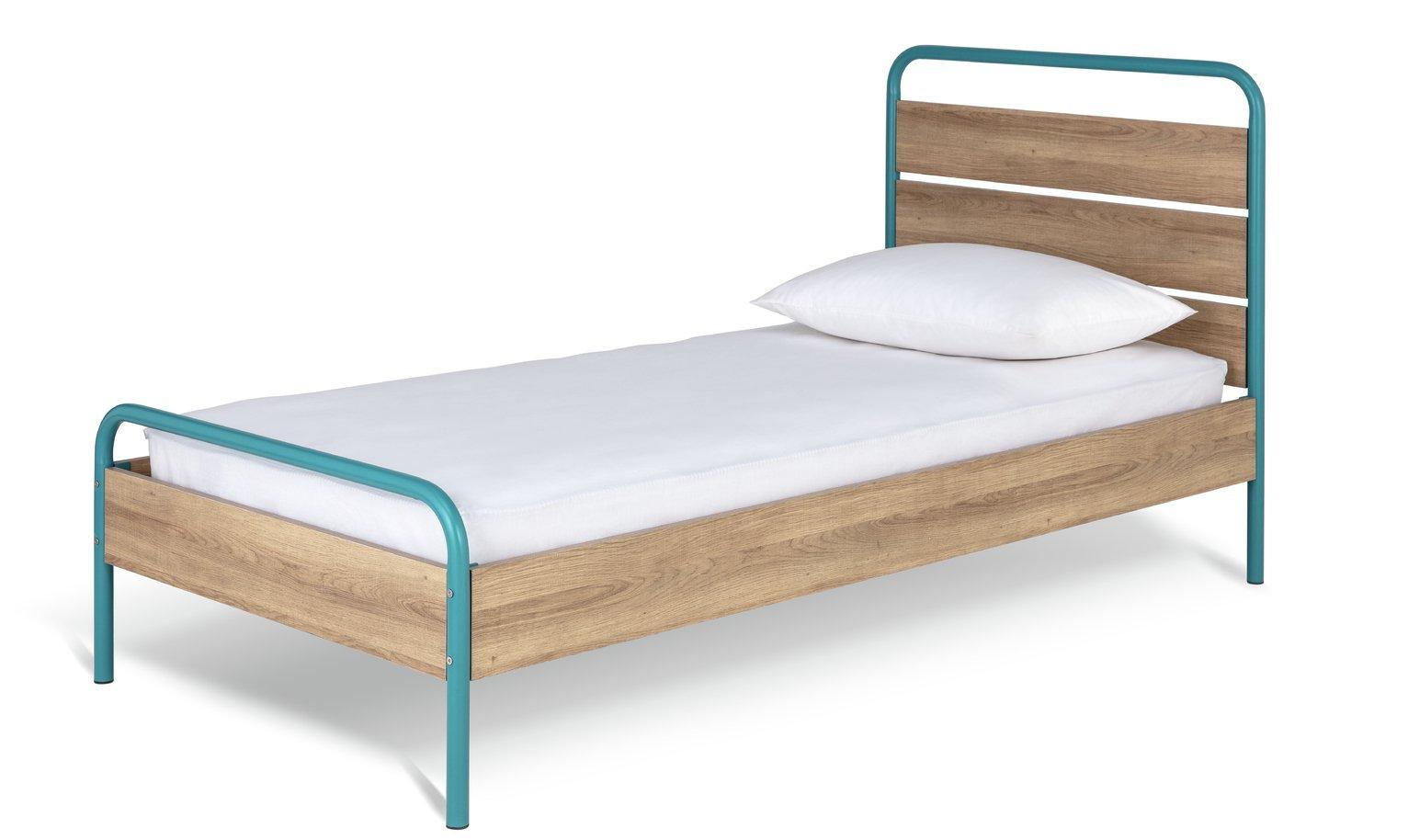 Habitat Industrial Single Bed and Kids Mattress -Dark Oak