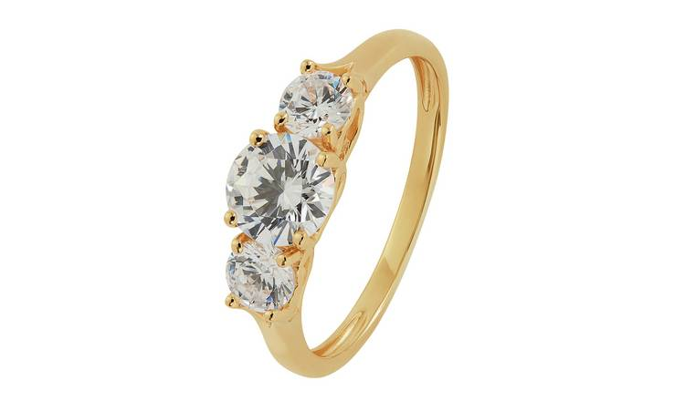 Revere 9ct Gold Round Cubic Zirconia 3 Stone Ring - S