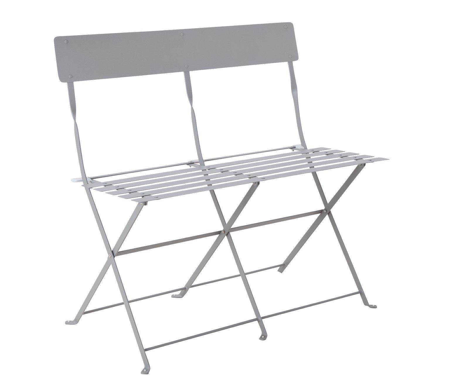 Argos Home Eve Metal 2 Seater Garden Bench - Grey