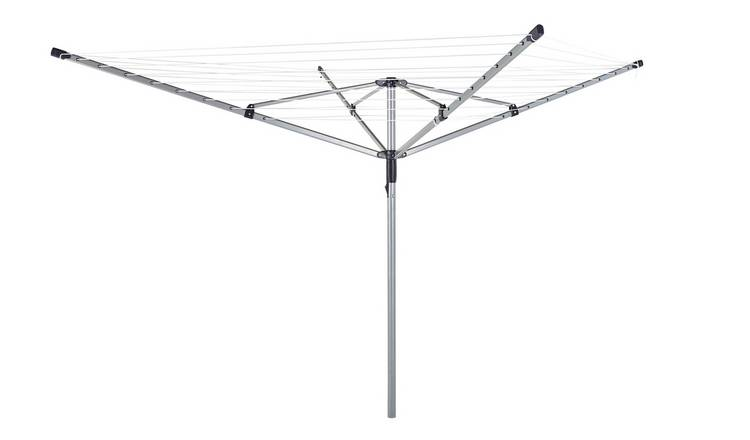 Includes Ground Socket BETTER 30m 3 arm Steel Rotary Washing Line with Umbrella Clip Locking Mechanism