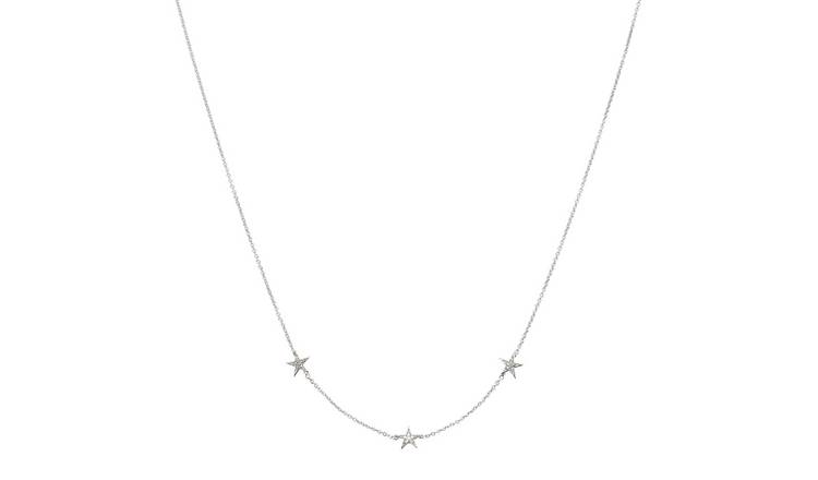 Revere Sterling Silver Diamond Star  Pendant Necklace