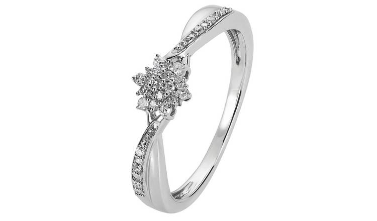 Revere Sterling Silver 0.10ct tw Diamond Cluster Ring - L
