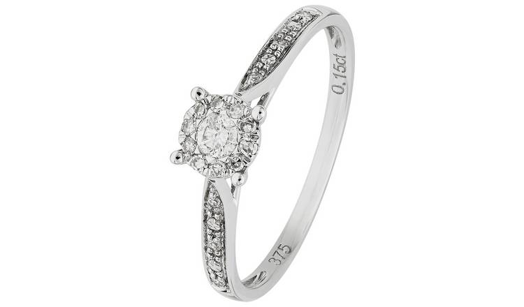 Revere 9ct White Gold 0.15ct tw Diamond Set Shoulder Ring -L