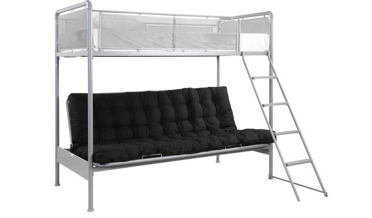 Argos Home Maddox Grey Futon Metal Bunk Bed Frame - Silver