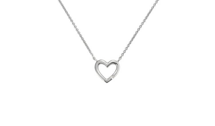 Revere Sterling Silver Diamond Heart 18 Inch Necklet
