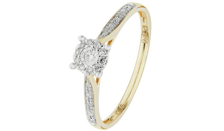 Revere 9ct Gold 0.15ct tw Diamond Set Shoulder Ring - S