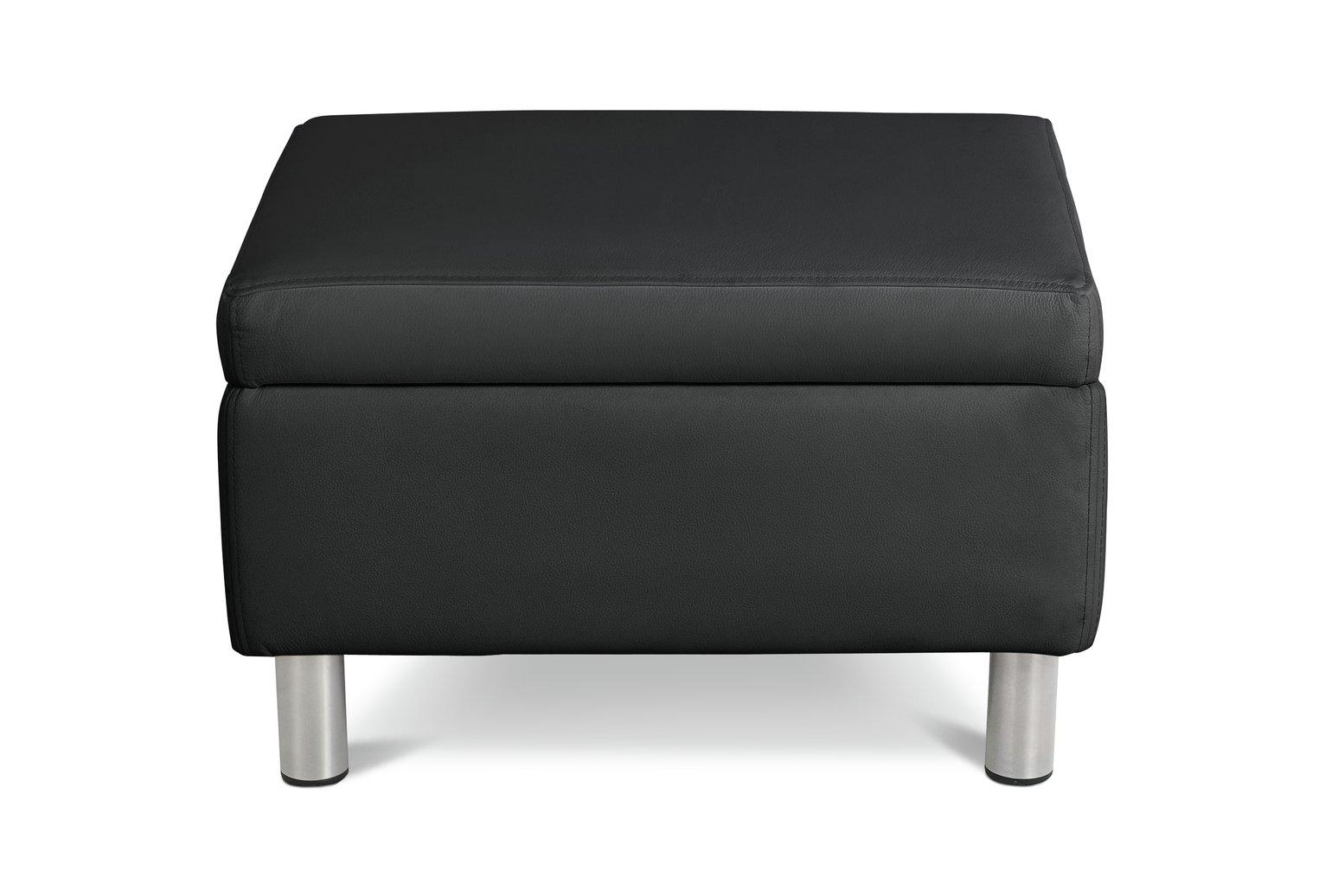 Habitat Moda Faux Leather Storage Footstool - Black