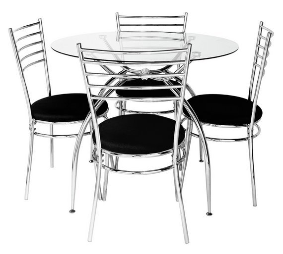 buy hygena lusi glass dining table and 4 chairs black at