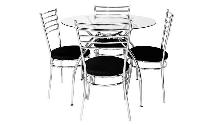 Argos Home Lusi Glass Dining Table & 4 Black Chairs