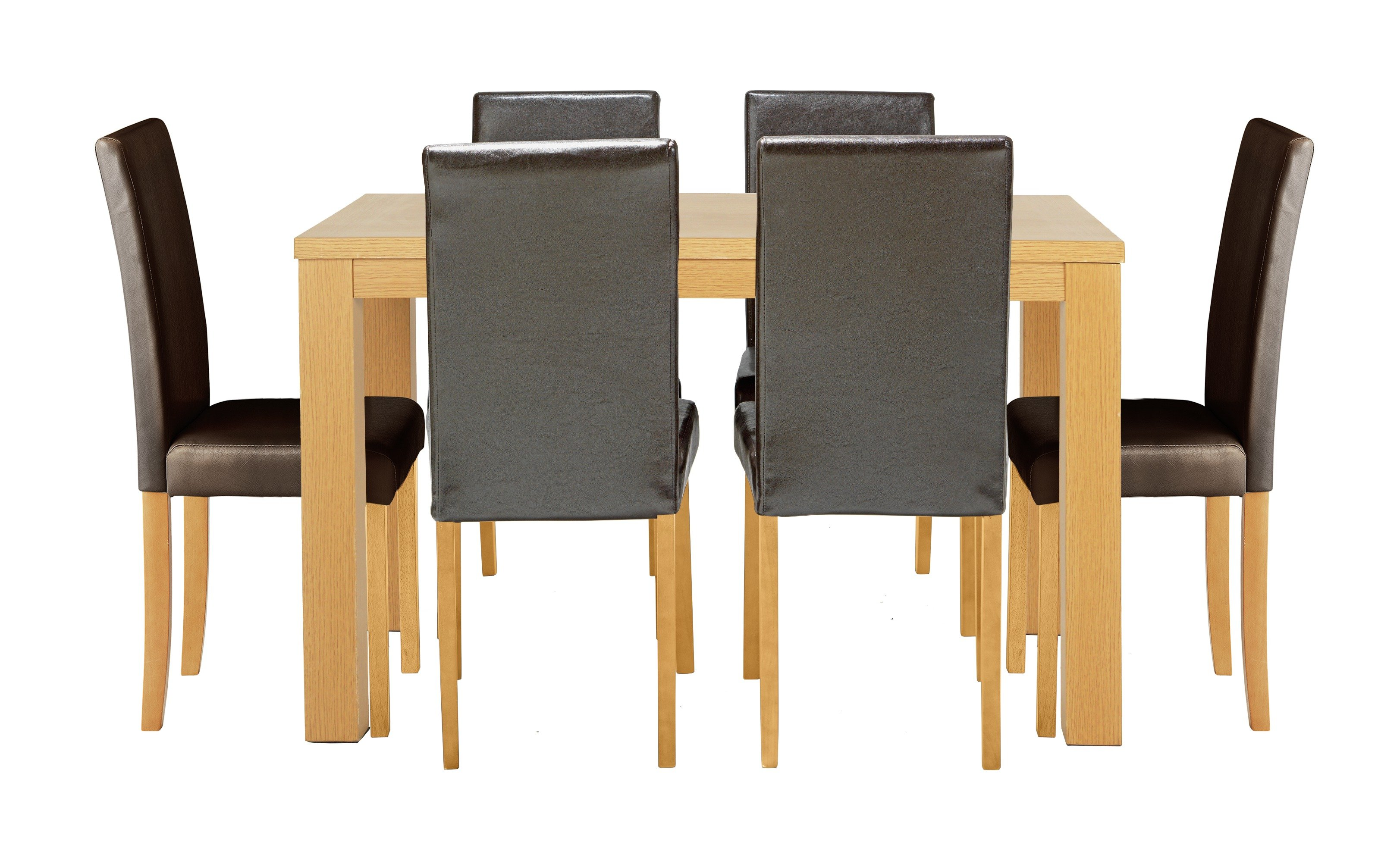 Buy HOME Pemberton Oak Veneer Dining Table 6 Chairs Black at