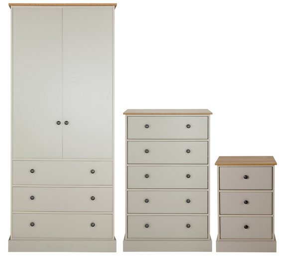 Buy collection kensington 3 pc package oak effect soft for Bedroom furniture argos