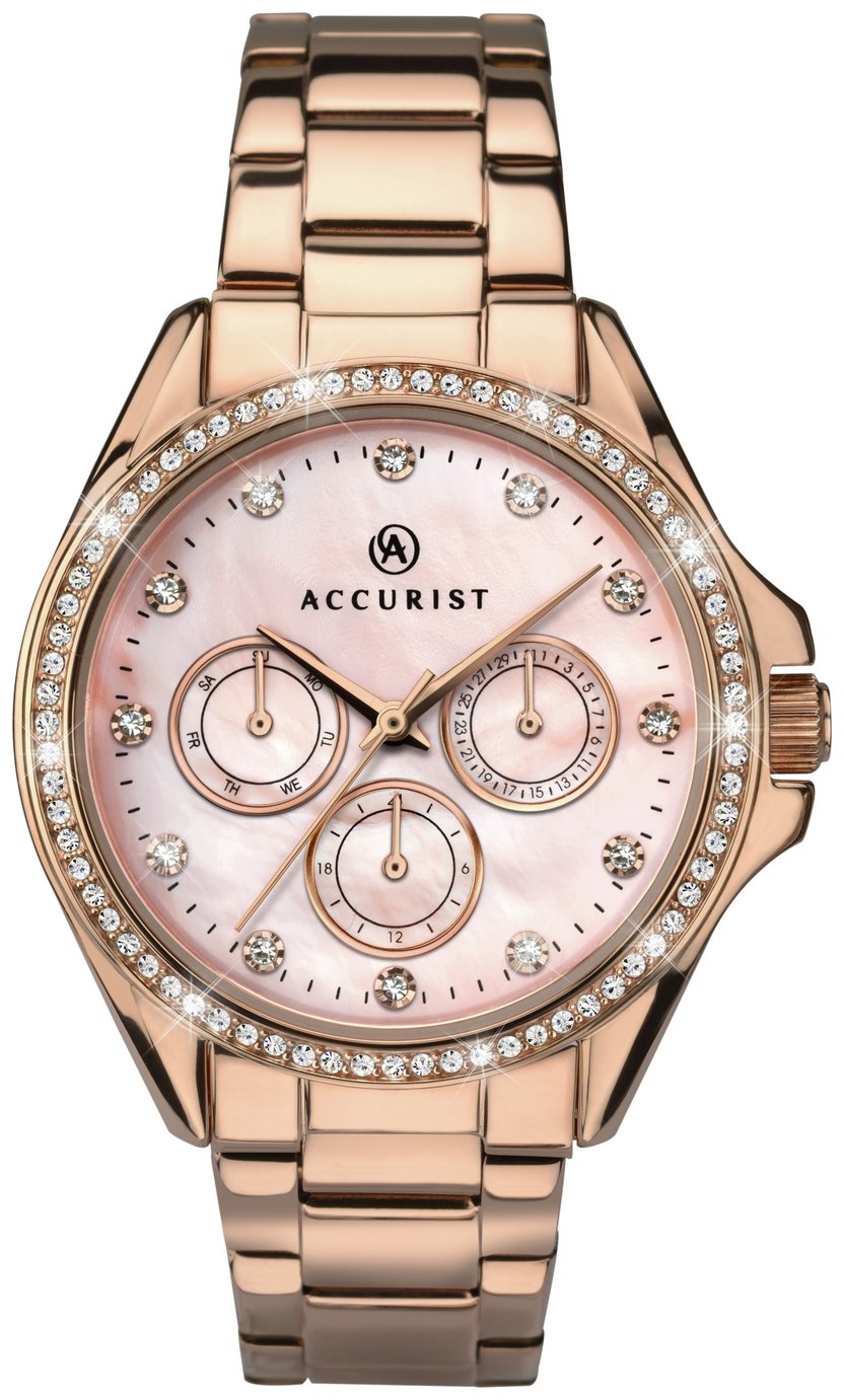 Image of Accurist - Ladies Pink Dial Rose Gold Plated Bracelet - Watch