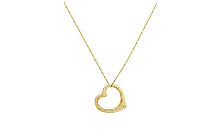 Revere 9ct Gold Floating Heart Pendant Necklace
