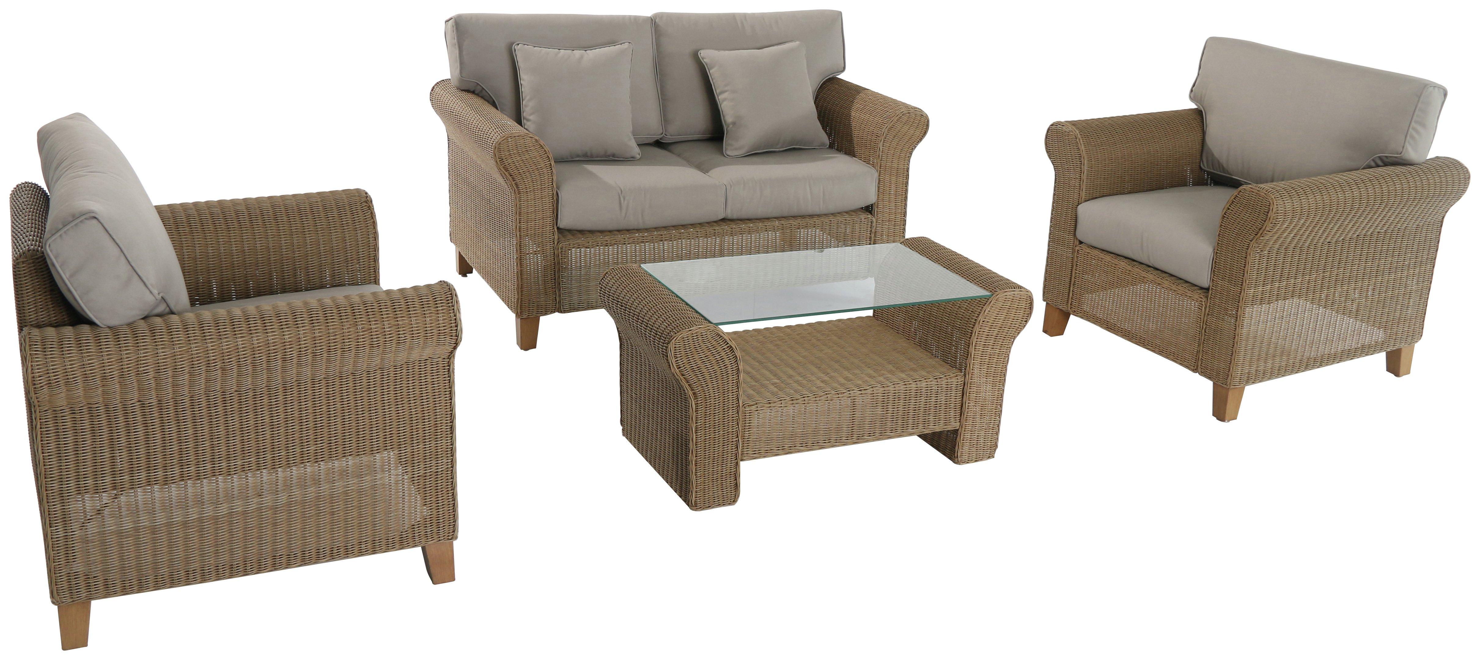 Image of Bordeaux 4 Seater Corner Rattan Conservatory Set