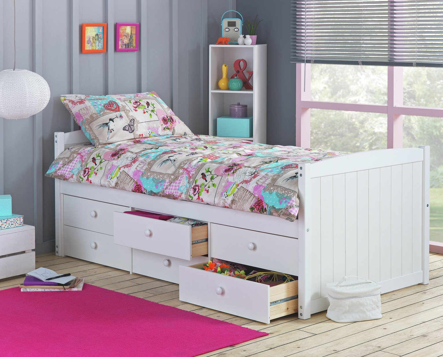Lennox - Single Cabin Bed with 6 Drawer &Ashley Mattress-White