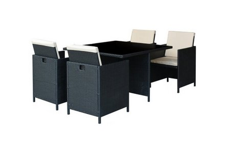 Image of the HOME Cube Rattan Effect 4 Seater Patio Set in Black.