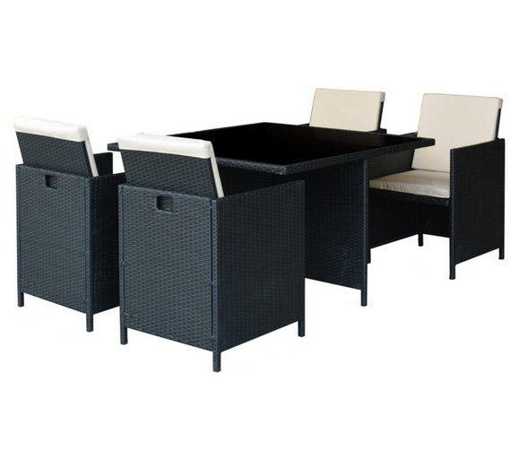 Argos Home Cube 4 Seater Rattan Effect Patio Set  sc 1 st  Argos & Garden table and chair sets