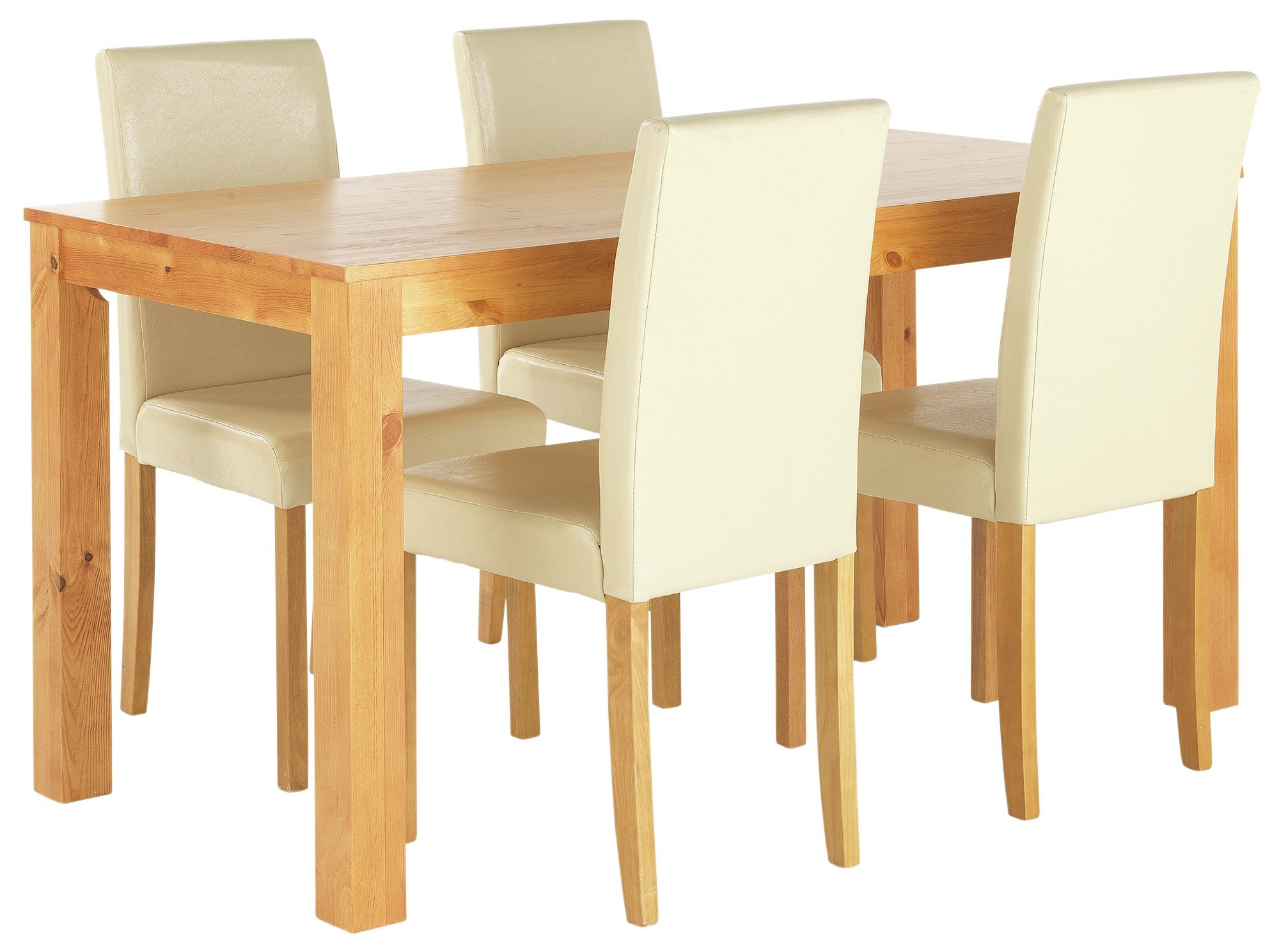 HOME Newton Solid Wood Table & 4 Chairs - Cream + Oak Stain