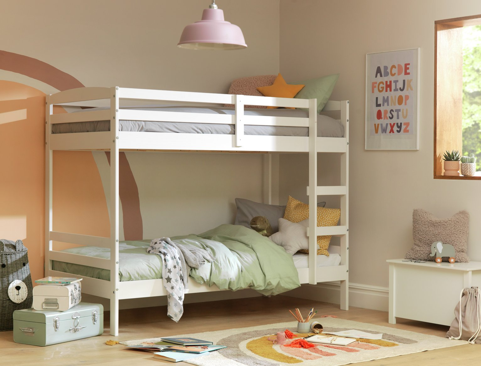 Argos Home Josie White Shorty Bunk Bed & 2 Kids Mattresses