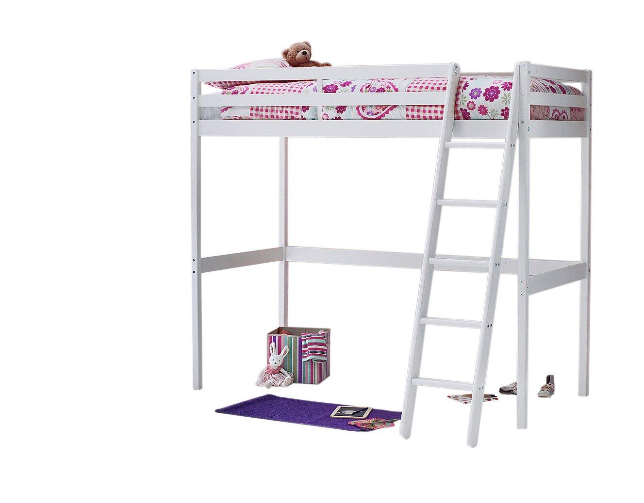 Wood - Single High Sleeper Bed Frame & Elliott Mattress-White