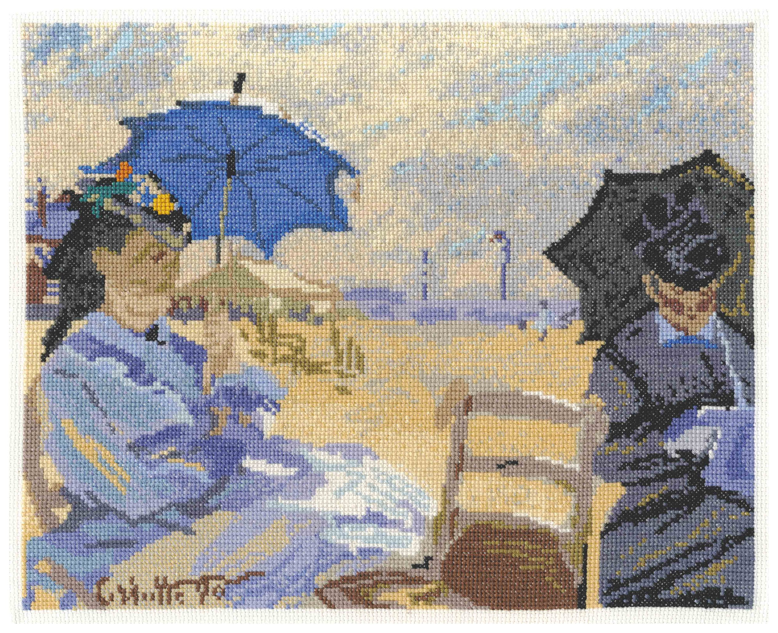 national-gallery-monet-beach-at-trouville-cross-stitch-kit