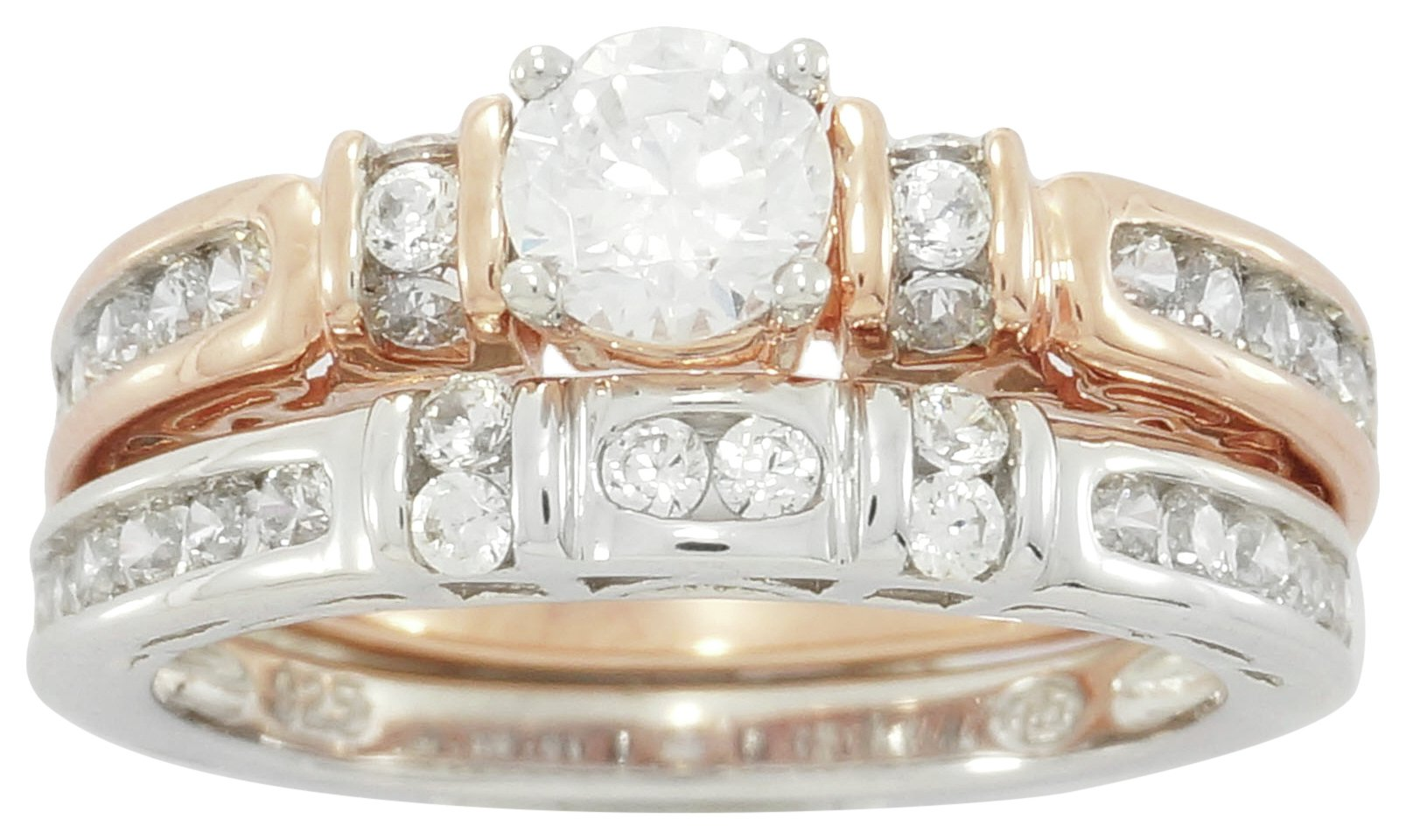 Image of Sterling Silver - & Rose Gold Plated Silver CZ 2 Part Ring - N